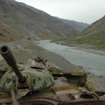 Destroyed Soviet tanks at the narrow entrance to Salang Valley