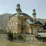 Mosque on the filthy Kabul River