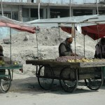 Fruit sellers along the roadside on the way back into Kabul