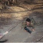 On the obstacle course during basic training at Recruit Course, Puckapunyal, 1994